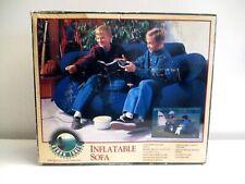 Inflatable Sofa Couch Love Seat Indoor Outdoor Flocked Navy Blue Dorm Den Gaming