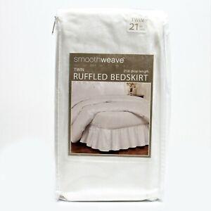 "Smoothweave 21"" Drop Ruffled Bed Skirt Twin White"