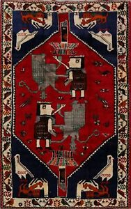 Excellent Pictorial Red Qashqai Abadeh Area Rug Hand-Knotted Wool Tribal 6x8 ft