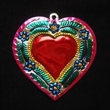 Colourful Mexican Tin Heart Milagro- Folk Art Oaxaca corazon token Miracle charm