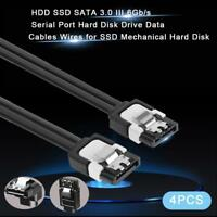 4pcs HDD SSD SATA 3.0 III 6Gb/s Serial Port Hard Disk Drive Data Cables Wires