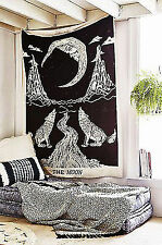 Howling Wolves of Moon Indian Mandala Tapestry Bohemian BedSheet Ethnic Wall Art