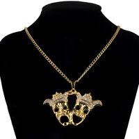 Men's Alloy Gold Tone Rhinestone Happy Terror Face Mask  Pendant  Chain Necklace