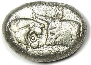 Ancient Lydia Cyrus to Darios I Lion AR Half Stater Siglos Coin 550 BC - VF