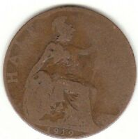1919 Half Penny George V  1/2d Collectors Coin's