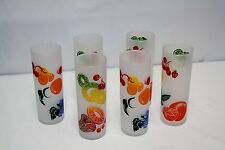 Vintage Tall Frosted Libbey Drinking Glass Set of 6, Silk Screen Fruit Graphics