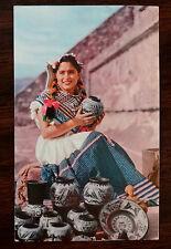 VENDEDORA DE LOZA Pottery Seller SAN JOSE TEOTIHUACAN MEXICO Postcard 1954