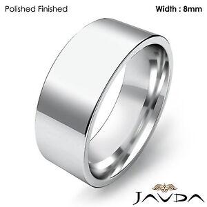 8mm Men Wedding Band Comfort fit Flat Pipe Cut Matte Ring Platinum 15.3g 8-8.75