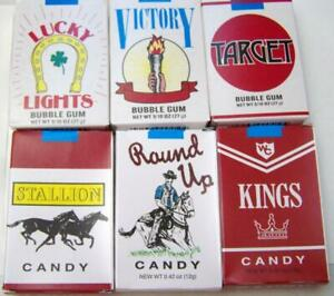 WORLDS BUBBLE GUM CIGARETTES + CANDY CIGARETTES 3 of each TOTAL OF 6 FREE SHIP
