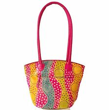 Genuine Leather India Shantiniketan Tote Bag Pink Handmade Shopper Summer