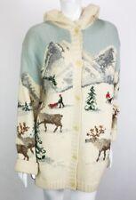 Ralph Lauren Cardigan Sweater Womens Large VTG Reindeer Hooded Handknit Wool