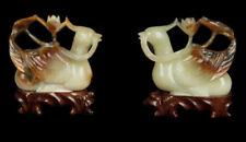 China 20. Jh. Enten Statue -A Pair Of Chinese Jade Mandarin Ducks Cinese Chinois