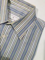 Ermenegildo Zegna Blue Striped Dress Shirt Mens Size 41 / 16 Long Sleeve