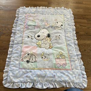 VINTAGE BABY CRIB BLANKET QUILT MY LITTLE SNOOPY WOODSTOCK PASTEL LAMBS & IVY