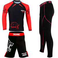 ROAR New MMA Kick Boxing Shorts BJJ Rash Guard Compression Legging No Gi Gym Set