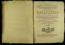 1767 FERRARIS - PROMPTA BIBLIOTHECA - CATHOLIC DICTIONARY CANON LAW THEOLOGY v1