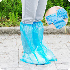 5 Pairs Waterproof Thick Plastic Disposable Rain Shoe Covers High-Top Anti-Slip