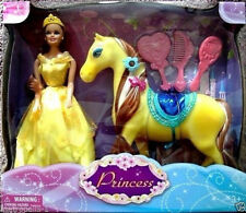 PRINCESS DOLL,W/ ROYAL HORSE & ACCESSORIES,SADDLE,BRUSH COMB,MIRROR,TIARA,3+,NEW