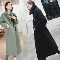 Womens Wool Blend Lapel Solid Color Warm Long Coat Parka Jacket Outwear Overcoat
