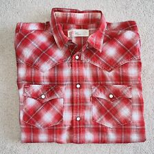 Levi's Standard Fit Medium Mens Vintage Red White Plaid Used Shirt Levis Jeans