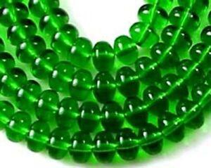 100 Czech Glass Puffed Rondelle - Emerald 4x3mm
