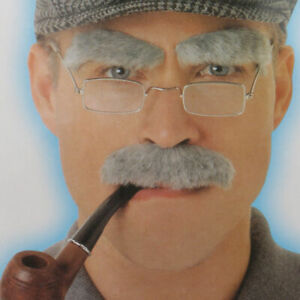 Old Man Eyebrows Fake Moustache Self Adhesive Fancy Dress Party Christmas Drama