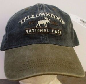 Yellowstone Hat Wyoming National Park USA Embroidery Prefade Moose Cap