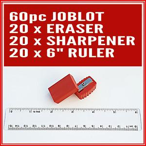 Joblot Stationery 60pc set 20 x Ruler 20 x Eraser 20 x sharpener Party Bag gifts