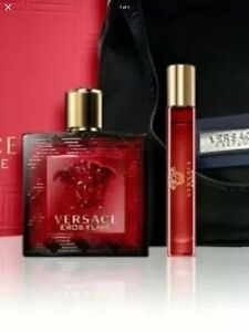 Versace Eros Flame 100ml 10ml Bag Gift Set New  Fast Delivery