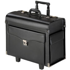 Leather Travel Bag Briefcase Business Pilot Trolley Suitcase Black