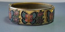 CLOISONNE BRACELET BUTTERFLY ROSES VINTAGE BRASS CUFF SAFETY CHAIN CLASP