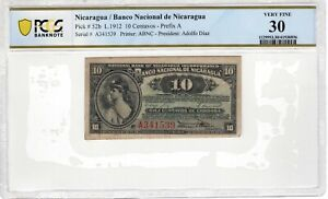 Nicaragua 1912 10 Centavos PCGS Banknote Certified Very Fine 30 Pick 52b ABNC