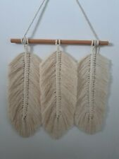 Macrame feathers wall hanging,home decor, gift, cream, cotton tread, 30×53 cm.