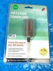 Startech USB2FAAEXT15 USB 2.0 Active Extension Cable NEW 16 ft Data Transfer