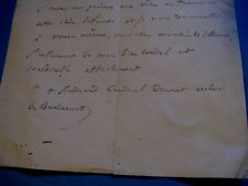 """FERDINAND DONNET Autographe Signé 1864 CARDINAL ARCHEVEQUE BORDEAUX """"CLOCHERS"""""""