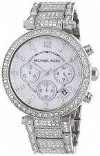 Parker Señoras Plata Michael Kors MK5572 Pave Cristales Cronógrafo RRP £ 279.00