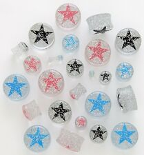 "1 Pair 9/16"" 14mm Clear Acrylic Glitter Black Star Saddle Plugs Ear Gauges Flare"