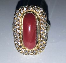 18K YELLOW GOLD RING NATURAL RED CORAL