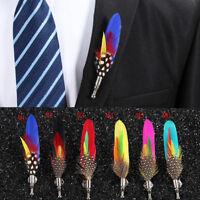 Men's Peacook Feather Suit Shirt Brooch Pins Lapel Corsage Bouquet Wedding Party