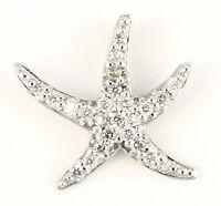 14k White Gold Diamond Star Fish Ladies Pendant Necklace Charm C14119