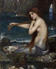 Mermaid Combing Hair On Ocean Shore Waterhouse Painting Real Canvas Art Print