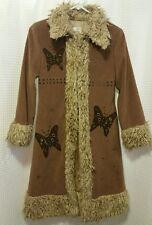 Monkey Wear Girls Sz 12 Long Coat Jacket Butterfly Faux Fur -CUTE!!!