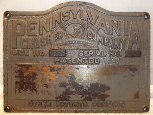 Antique Pennsylvania Crusher Cast Iron Sign Plaque Plate Phila. Pittsburgh