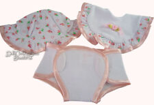 Sweet Trio of Accessories Hat Bib Diaper for Bitty Baby Doll Clothes