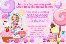 CANDY SHOPPE CANDYLAND PRINTABLE BIRTHDAY PARTY INVITATION & FREE THANK U CARD C