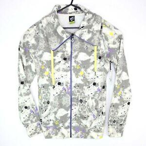 Volcom Desky Novelty Womens Sweatshirt Full Zip Front Grey High Collar Size S