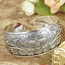 Nation Tibetan Tibet silver Peony Flower Bangle Cuff Bracelet