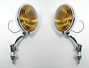 Pair Amber Fog Lights & Chrome Brackets, Glass Vintage Style for 1936-38 Chevy
