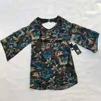 Rusty Bowie Dubarry Floral Print Womens Top Surf Blouse Size XS