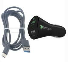 For Galaxy Note 10 8 9 Plus CAR CHARGER 30W FAST 2-PORT USB 6FT CABLE TYPE-C DC